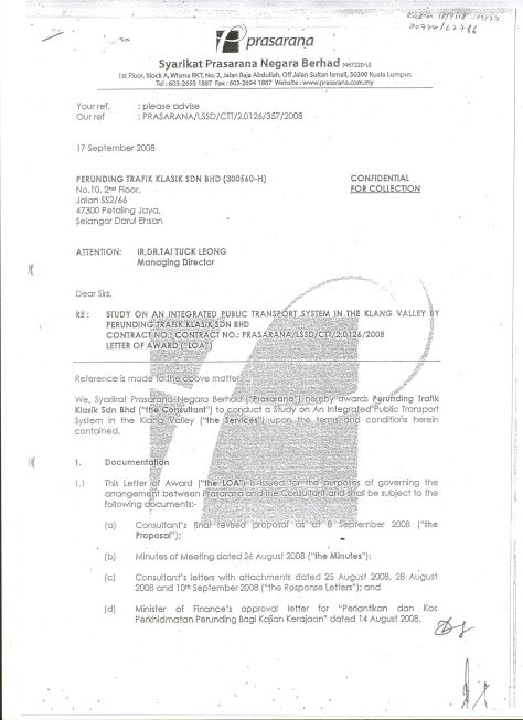 Appointment letter from Prasarana to Perunding Trafik Klasik