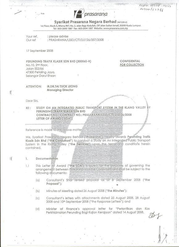 Appointment letter from Prasarana to Perunding Trafik Klasik
