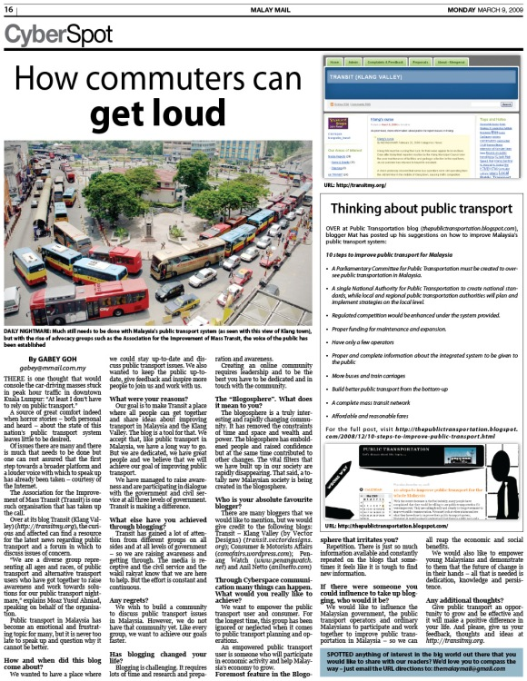 "The ScreenShot of the ""Cyberspot"" of TRANSIT by the Malay Mail"