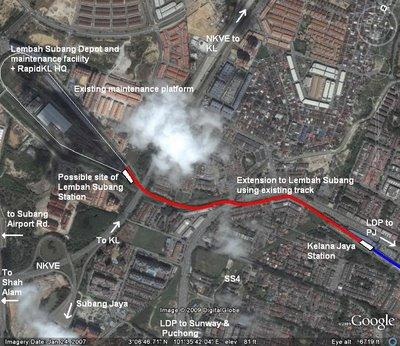 Google Earth image of proposed temporary extension of Kelana Jaya LRT line from Kelana Jaya to Lembah Subang (existing depot) using existing track