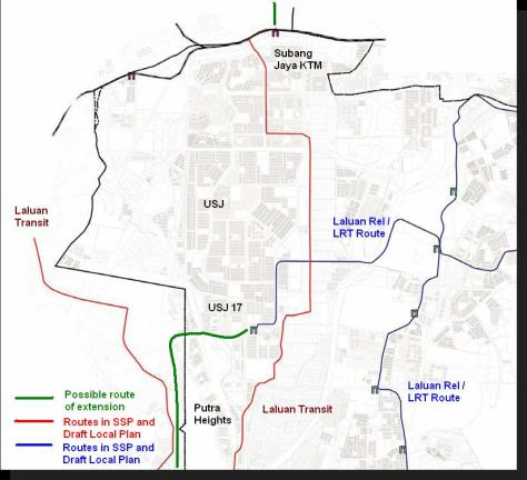 The potential route for the LRT extension (in Green) surmised by residents of Putra Heights