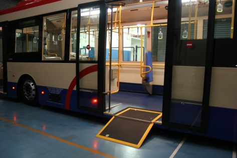 Exterior view of the bus showing the wheelchair ramp - image courtesy of Scania Malaysia