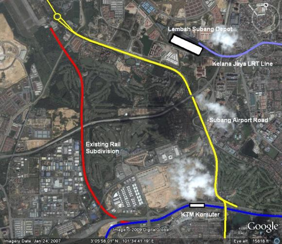 Subang Airport area with Existing Rail Link and Komuter (coloured)
