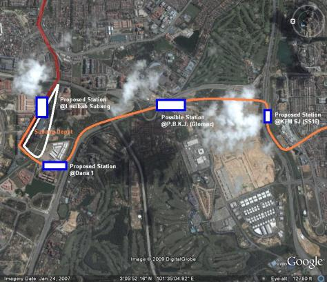 TRANSIT's reproduction of the proposed extension from Lembah Subang to Subang Jaya