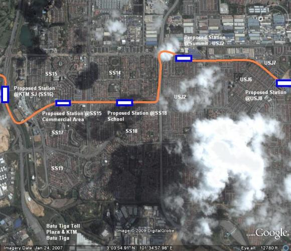 TRANSIT's reproduction of the proposed route from Subang Jaya Komuter station to USJ8 - NOT Finalized