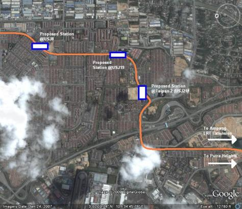 The proposed extension of the Kalana Jaya line through USJ and towards Putra Heights