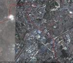 A google earth image of the proposed Kota Damansara - Cheras line (in red) from Bukit Bintang to Maluri
