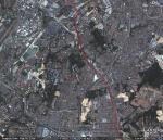 A google earth image of the proposed Kota Damansara - Cheras line (in red) from Maluri to Cheras