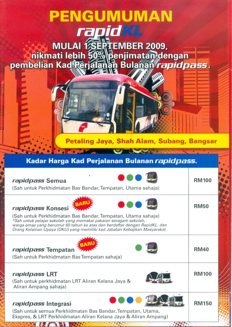 New RapidKL Bas Utama route information brochure for Petaling Jaya, Subang, Shah Alam & Bangsar