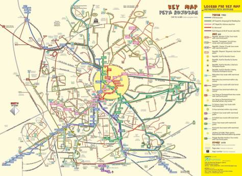 Bus Routes in the Klang ValleyBasTrenKL map showing bus routes in the Klang Valley - image courtesy of Vector Designs