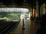 The ETS trainset traveling through a cloud of smoke before entering platform 1, Kuala Lumpur Station