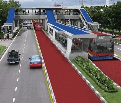 Artist's impression of the Bangkok Bus Rapid Transit line, currently under construction.